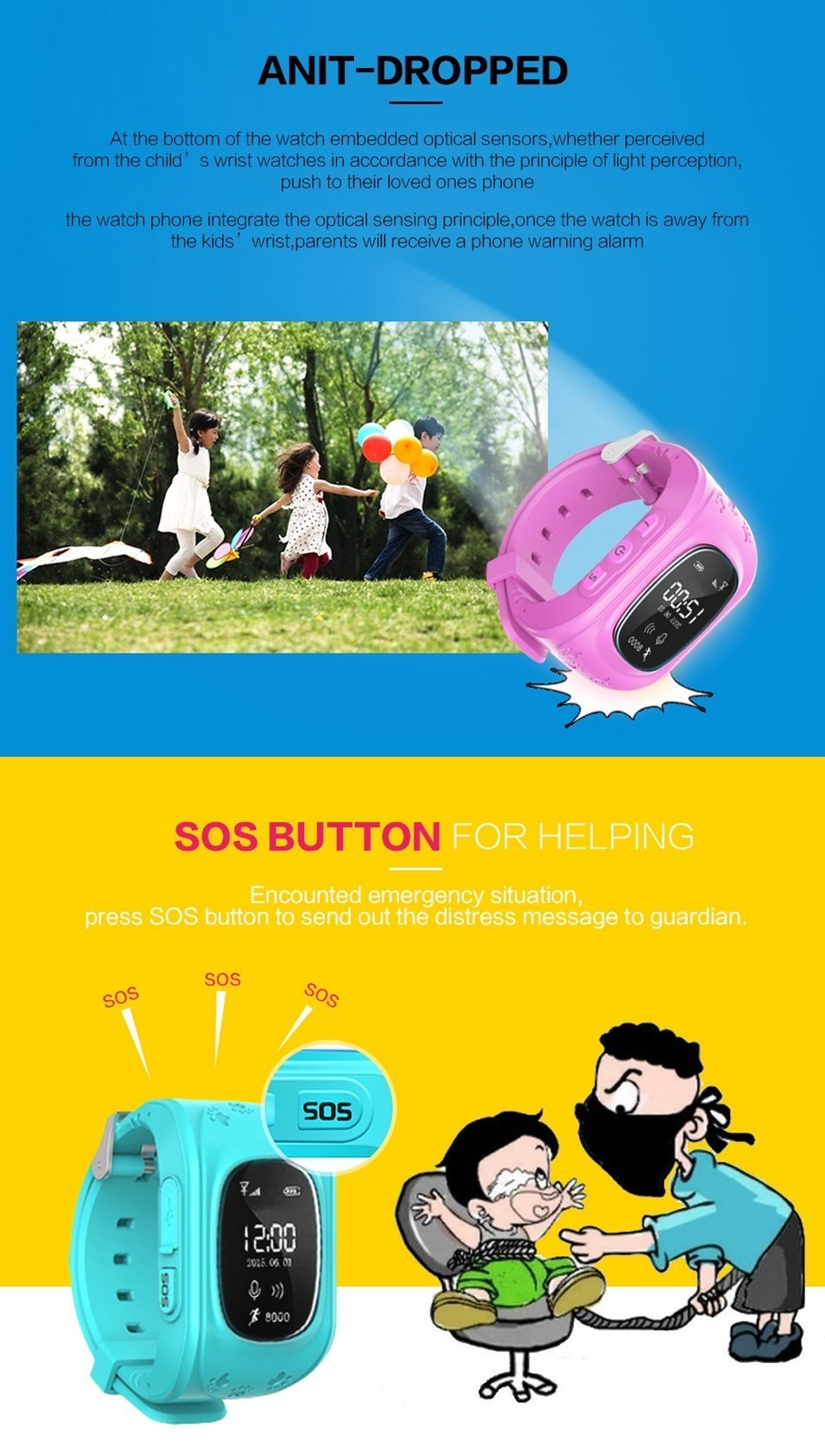 Kids Smart Watch Q50 Wrist Watch with Anti-lost GPS Tracker SOS Call Location Finder SIM Card Slot Remote Smart Watch for Kids
