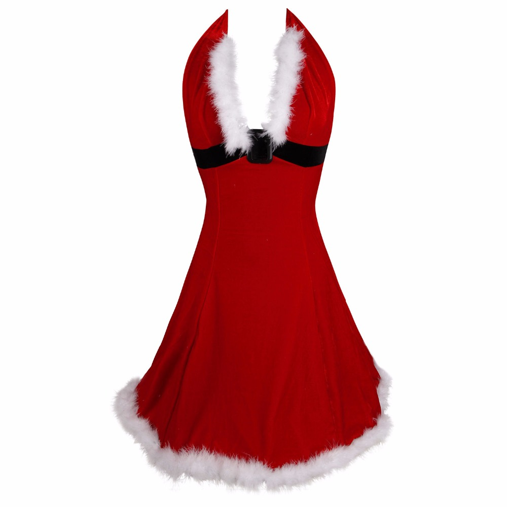 Women-Sexy-Christmas-Festival-Cosplay-Costumes-Red-Corduroy-Corset-Dress-Uniform-Role-Adult-Santa