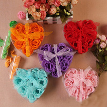 9pcs Scented Flower Bath Body Soap Heart Shaped Rose Petals Wedding Decoration Gifts Favor