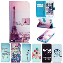 Fashion Leather Flip Wallet Owl Family Tower Cover for iPhone 4 4S 5 5S SE 6 6S 7 Plus Luxury Stand Style Phone Cases