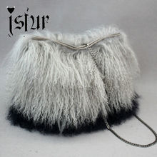 Fall Collection Genuine Monogolian Fur Accesssory Fur Bag For Women Fashion lady Lamb Fur Accessories