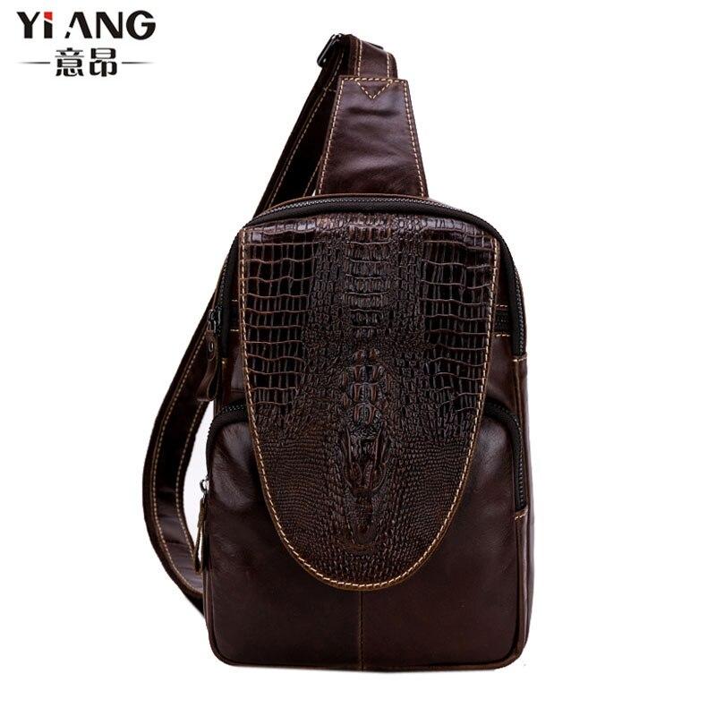 Men Genuine Leather First Layer Cowhide Crocodile pattern Sling Chest Pack Bag Travel Cross Body Shoulder CrossBody Bag New<br>