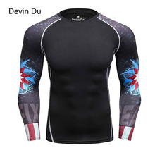 Mens MMA Fitness Rashguard T Shirts Fashion 3D Teen Wolf Long Sleeve Palace Compression Shirt Man Bodybuilding Crossfit Clothing