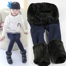 New Winter Fur Girls Leggings Children Pants KIds Thick Warm Elastic Waist Colorful Cotton Leggings Girl Pants