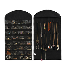 32-pocket 18 hook-and-loop tabs Hanging Jewelry Organizer Dual Sides Space-saving Household Accessory Jewelry Closet Dress Bag