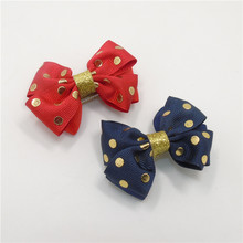 10pcs/lot Gold Dot Hair Bow Clip Dark Blue Red Christmas Two Layer Bowknot for Kid Girls Adorable Handmade Festive Nice Barrette(China)