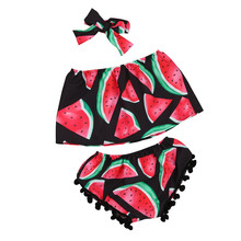 Summer Toddler Kids Baby Girls Watermelon Tops Shorts Pant Outfits Sunsuit Clothes Brand Sport Suits Tracksuits Cotton suit P5