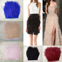 1 Meter/lot Multi Color Long Ostrich Feather Plumes Fringe trim13-15cm Feather Boa Stripe for Party Clothing Accessories GPD8194