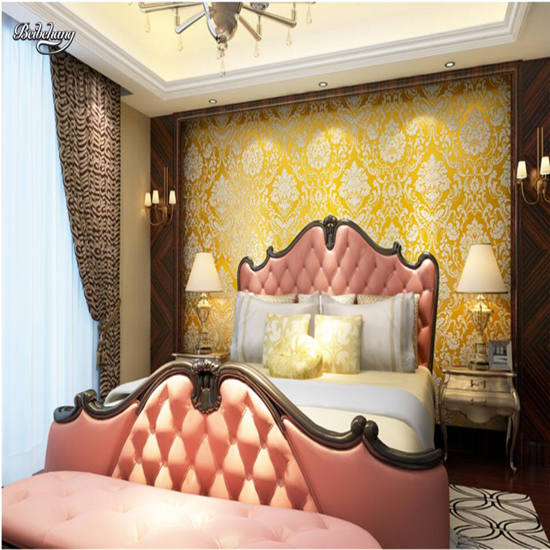 beibehang Stereo 3D Wallpaper Nonwoven Fabric European Wallpaper Beige Video Wall Living Room Bedroom Warm Wall TV Wall<br>