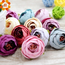 50PCS Silk Artificial Flower Heads Tea Rose Flowers DIY Wreath Gift Box Scrapbooking Wedding Party Decoration Craft Fake Flowers