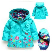 Children winter outwear printed flower baby clothing kids jackets girls coat pink wind rain girls winter coats 2017 2-7 red