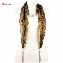 AOLOSHOW New style women autumn jewelry scarfs necklace leopard python patterns jewelry tassel ends beads scarf NL-1923