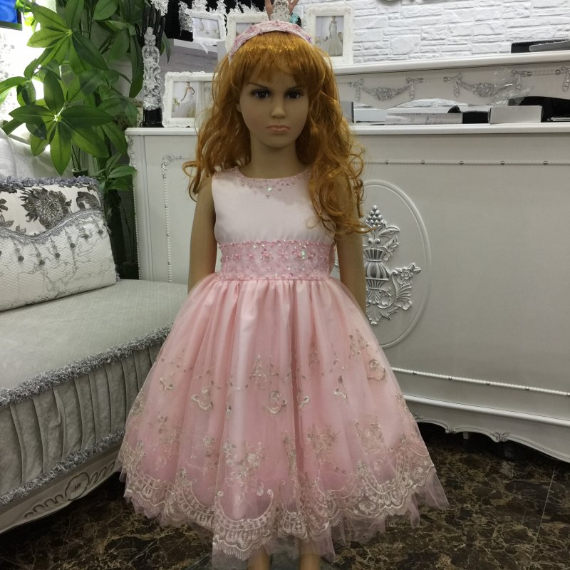 Factory Wholesale  2-8 YRS Pink Girl Party Dress 2017 New Girl Lace Prom Gown  Knee Length Formal dress For Kids in stock X-5209<br><br>Aliexpress