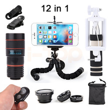 New Camera lentes Kit 8X Zoom Telephoto Lenses Microscope Fish eye Wide Angle Macro Lens For iphone 4s 5 5s 5c SE 6 6s 7 8 Plus(China)