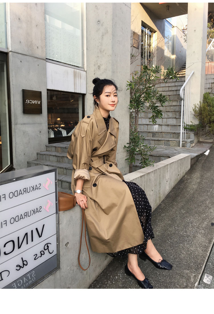 khaki Trench Coat Casual women's long Outerwear loose clothes for lady with belt spring autumn fashion high quality army green 12
