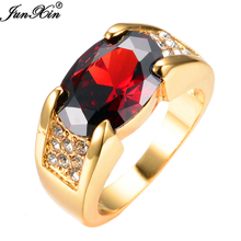 JUNXIN 2017 Newest Men/Women Fashion Jewelry Red Rings 10KT Yellow Gold Red Zircon Wedding Band Finger Ring Wholeasale Retail