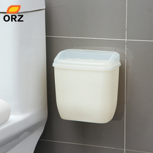 ORZ Storage Box Waste Can Wall Mount Bins With Cover Creative Wall Magic Sticker Bathroom Kitchen Toilet Waste Bins Plastic Box(China)