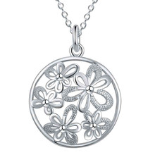 LOVE New Arrivals Hot silver Fashion pendant charm Necklaces Flower plant Necklace 18inch rolo chain women fancy chic CYPRIS(China)