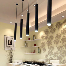 1 piece Modern led restaurant cafe chandelier cylindrical long tube led light living room bedroom dining room pendant lamp