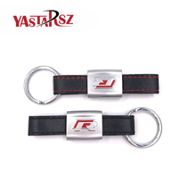 New Alloy PU Leather Keyring keychain Car Logo Black/Red R Line Rline Fit For VW Golf Jetta R32 R36 MK6 Key ring Car styling(China)