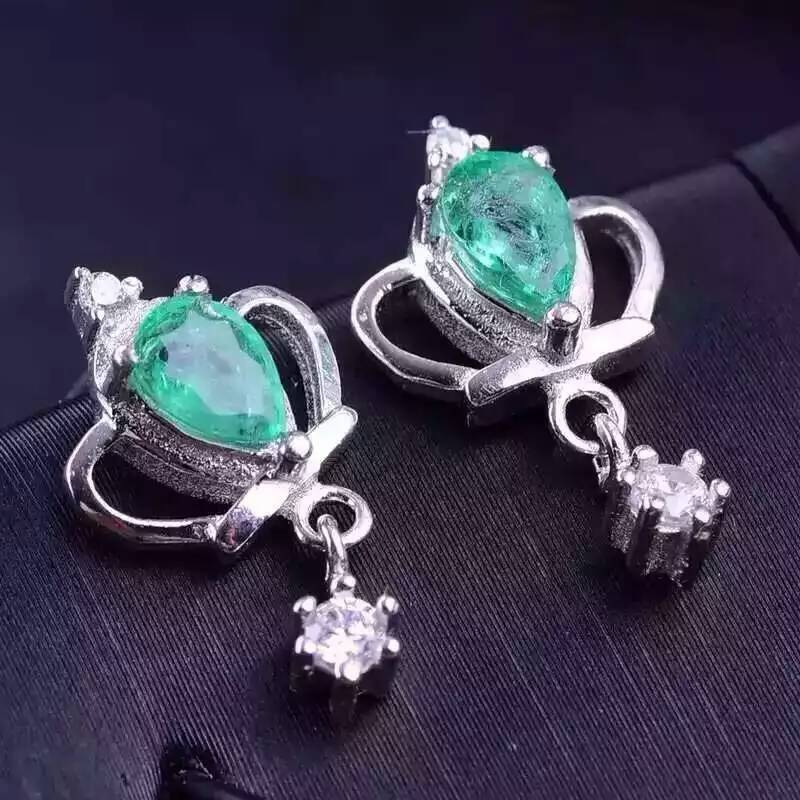 natural emerald stud earrings s925 sterling silver Natural green gemstone earring women noble Crown earrings jewelry for party