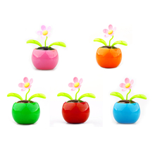 5pcs/lot Solar Flip Flap Apple Sunflower Ornament Auto Swing Car Decoration Solar Power Flowerpot Flower Car Interior Ornament(China)