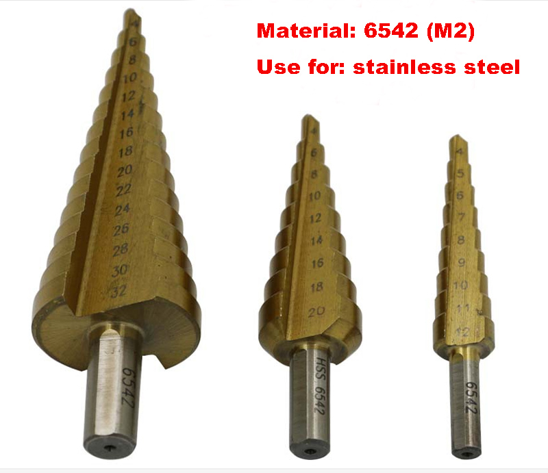3 pcs stainless steel drill holes 6542 triangular shank drill ladder stairs drilled Reamer 4-32,4-20,4-12MM<br>