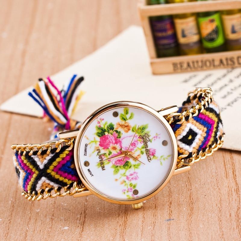 New brand fashion gold quartz watch famous women clock casual sport printing flowers watch Luxury weave Bracelet watches relogio<br><br>Aliexpress