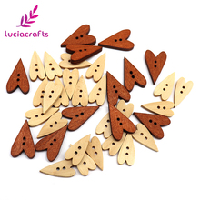 Lucia Crafts 6pcs/48pcs 21*11mm/24*15mm 2-Holes Heart Shape Wooden Buttons DIY Clothes Flatback Sewing Accessories 13010005(China)