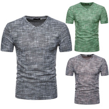 Buy tshirt Men 2018 Summer New Fashion V Neck Mens Casual Fit Casual Solid Tees Shirt Short Sleeve T-Shirt Tops Wholesale #FM22 for $6.29 in AliExpress store