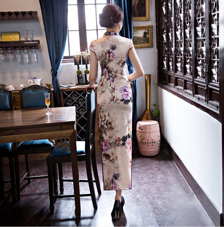 New Arrival Women's Silk Long Cheongsam Fashion Chinese Style Dress Elegant Slim Qipao Tang Clothing Size S M L XL XXL F072641 5
