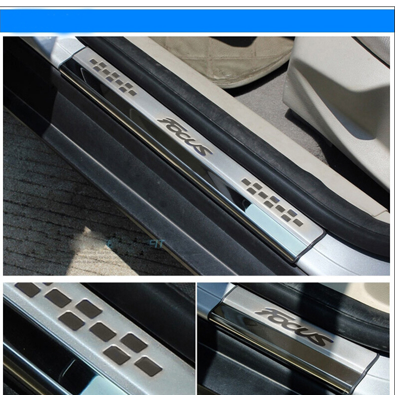 for Ford for focus 2012 inner Door sills sill plate scuff plate car pedal welcome pedal car stainless steel car stying 4pcs<br>
