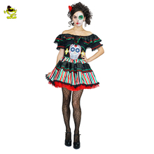 New Sexy Halloween Costume Womens Day of Dead Senorita Dress Halloween Party Adult Devil skeleton Costumes For Carnival Cosplay