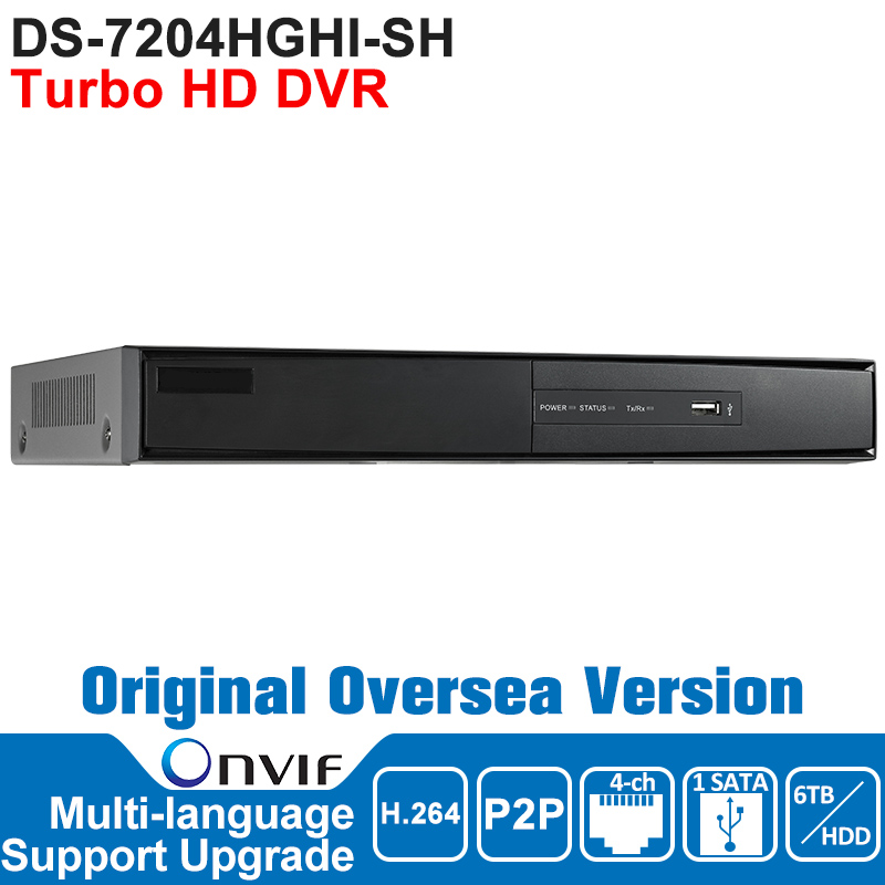Hikvision Turbo HD DVR DS-7204HGHI-SH 4CH Analog HDTVI Video Input H.264 1SATA Interface Support HDTVI analog IP Camera<br><br>Aliexpress