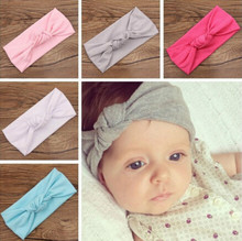 1pcs Children Tie Knot Headband Knitted Cotton Elastic Baby Girls Hair Band Toddler Turban Headband bandeau bebe(China)