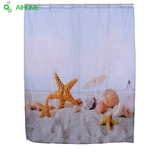 Star Fish Sea Shell Beach Shower Curtain 180x180cm/150 * 180 cm Waterproof  Polyester Shower Curtain Bathroom Decorations
