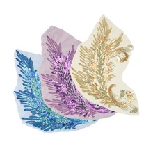 1PCS Embroidered Sequins Peacock Feather Wing Patches Sewing Applique DIY Trim For Lady Garment Dress Cheongsam Craft Decoration(China)