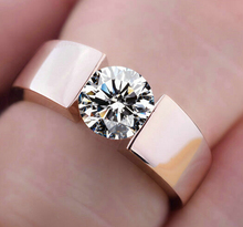 2015 new high quality  rose gold color CZ Rhinestone rings Top Design engagement Band lovers Ring for Women Men