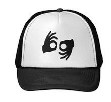 ok hand Print Baseball Cap Trucker Hat For Women Men Unisex Mesh Adjustable Size Black White Drop Ship M-72(China)