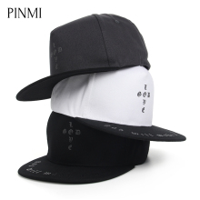 PINMI Letter Hip Hop Cap Men Flat Hat Unisex Baseball Hat Caps Women Black Adjustable Rap Street Men Skateboard Cap Simple Caps
