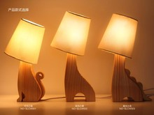 Cute Animal Wooden Table Lamp Deer/Dragon/Cat E27 Wood Desk Light For Study Room,Bedroom,Coffee shop Home Decoration WTL015