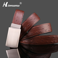 HIMUNU 2016 Ostrich grain Genuine leather Belt for men Mens Famous Luxury Designer Belt men Fashion Pin Buckle Man Belts