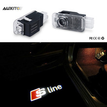 2 x LED Car Door Welcome Light Laser Projector Sline Logo For Audi A1 A3 A5 A6 A8 A4 B6 B8 C5 80 A7 Q3 Q5 Q7 TT R8 S line