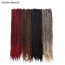 18inch Crochet Box Braid Hair Pre Braided Hair Extensions Ombre Synthetic Braiding Hair Golden Beauty(China)