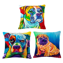 Paiting dog Cushion Covers Sofa Throw Pillows Decorative Throw Pillow Covers Pillowcase Garden Furniture Cushions PC0043(China)