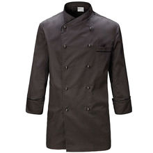 Gray Poly Cotton Long Sleeve Shirt Hotel Restaurant Professional Chef Uniform Bistro Diner Kitchen Catering Staff Work Wear B70