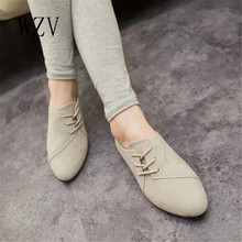 WZV New Hot Selling Spring Casual Women Shoes Women Nubuck Leather lace-Up Flat Shoes Handsome Head Toe Shoes