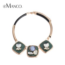 eManco Fashion Elegant Geometric Choker Necklace & Pendant for Women Green Crystal Opal Resin Black Rope Accessories Jewelry(China)