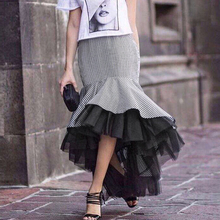 TWOTWINSTYLE Plaid Tulle Women's Skirt High Waist Asymmetrical Midi Long Skirt Patchwork Ruffle Mesh Mermaid Bottoms Autumn 2017