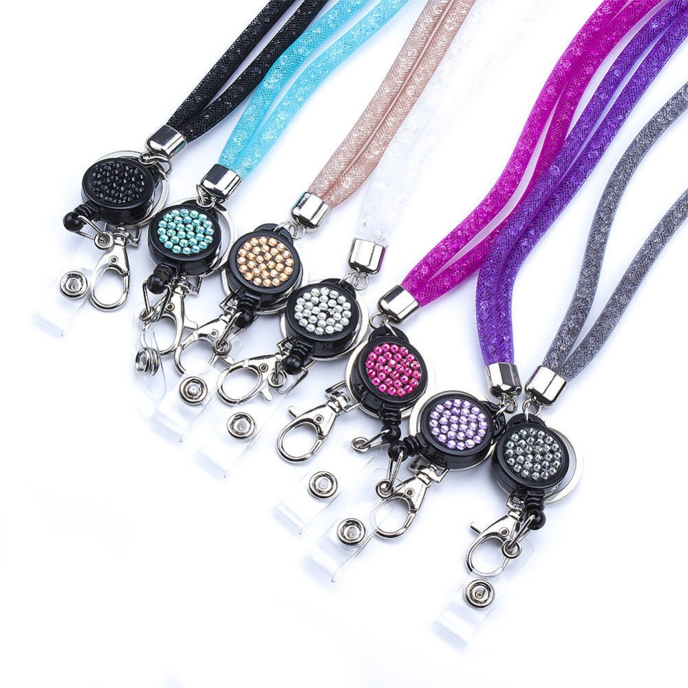 3X,Clear,Purple,Turquoise 3PCS Pack 32 All Around Bling Crystal Leather Neck Strap Lanyard W//Vertical ID//Name Badge Keys Holder Cute Rhinestone Retractable Badge Reel Clip